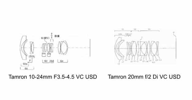 Tamrom Patents 10-24mm F3.5-4.5 VC and Tamron 20mm f/2 Di VC Lenses