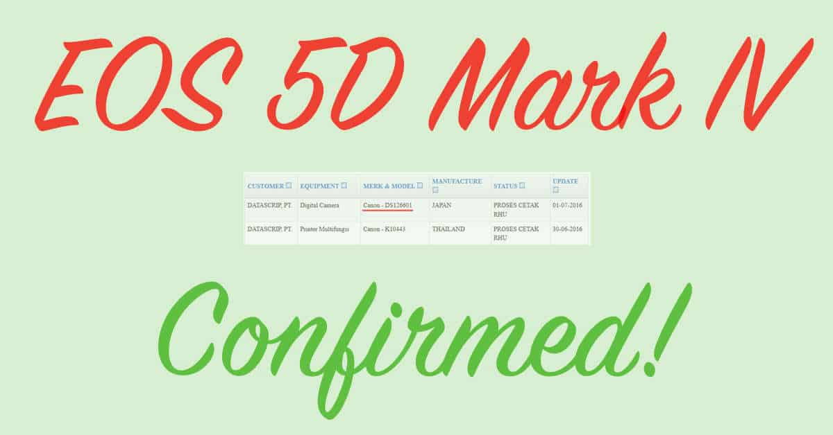 Confirned: Canon Camera Registered With Indonesian Telecommunication Agency is EOS 5D Mark IV