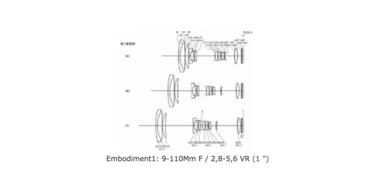 Nikon Patents 9-110mm f/2.8-5.6 Lens for 1 System Cameras