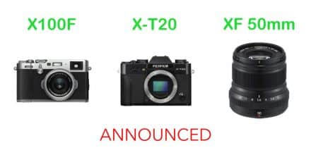 fuji Announce X100F, X-T20, and XF 50mm F/2 R WR