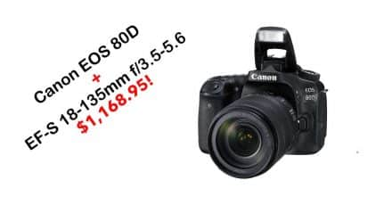 Canon EOS 80D Digital SLR Kit with EF-S 18-135mm f/3.5-5.6 IS for $1,168.95!