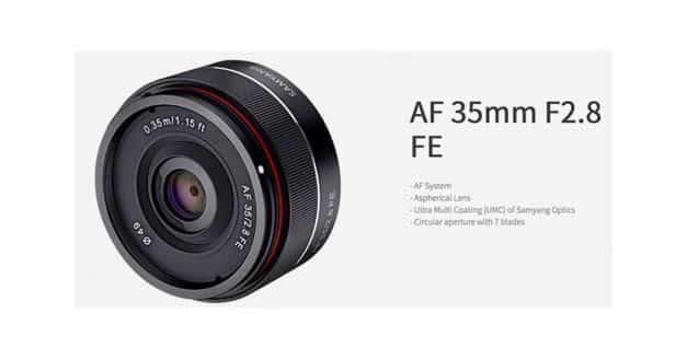 Samyang Announce the 35mm f/2.8 FE autofocus lens