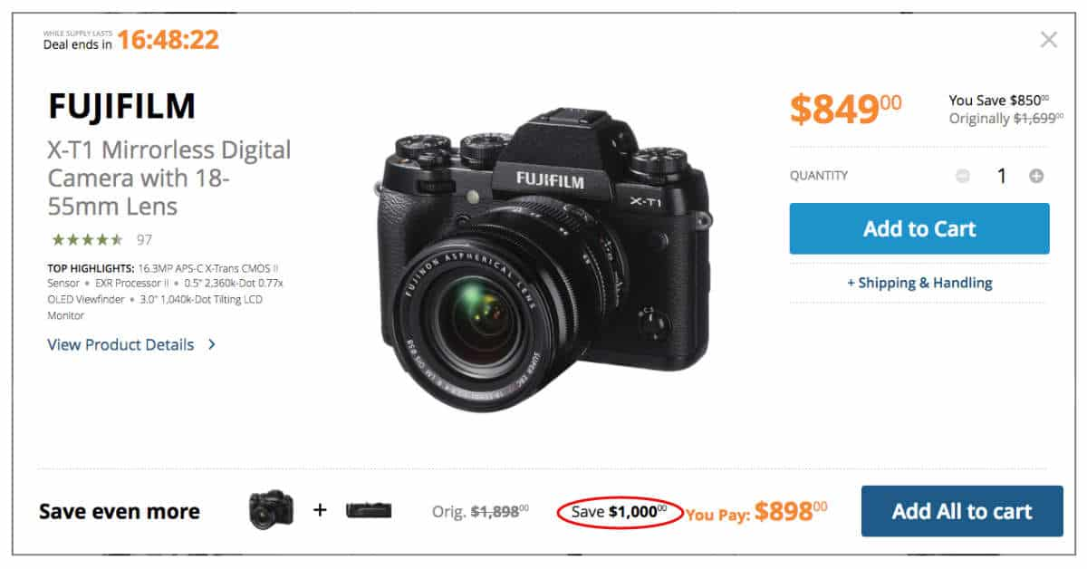 TODAY ONLY: SAVE UPTO $1,000 ON X-T1 COMBOS!